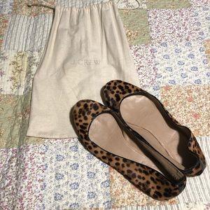 JCrew Leopard Horsehair Leather Ballet Flats ~ 8